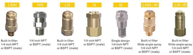 Fine misting nozzle types