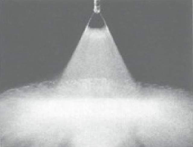 65 degree angle needle spraying effect of high pressure nozzle